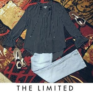 The Limited Polka Dot Girly Button Down Blouse
